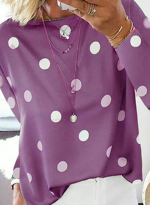 Polka Dot Casual Round Neckline Long Sleeve Blouses (4355826)