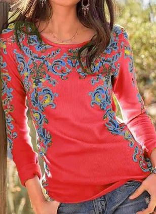 Floral Round Neck Long Sleeve Vintage T-shirts (109555818)