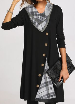 Casual Plaid Tunic Draped Neckline A-line Dress (111798793)