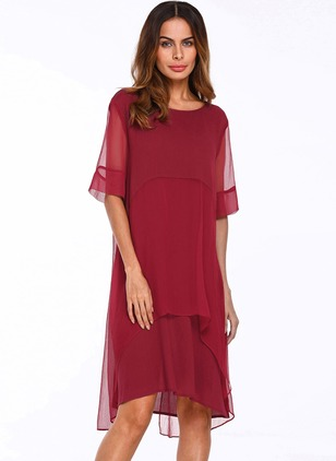 Casual Solid Round Neckline Midi Shift Dress (1056338)