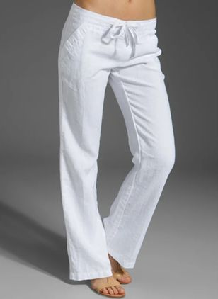 Pockets Mid Waist Polyester Pants (147221230)