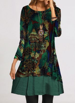 Casual Floral Tunic Round Neckline Shift Dress (1460827)