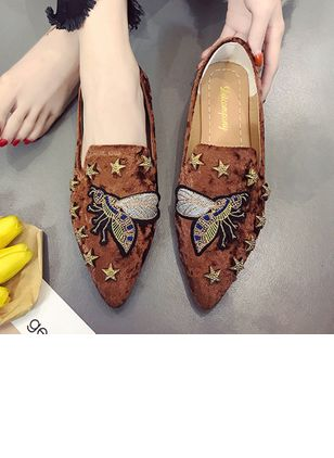 Animal Print Pointed Toe Flat Heel Shoes