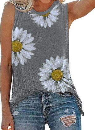 Floral Round Neck Sleeveless Casual T-shirts (147125285)
