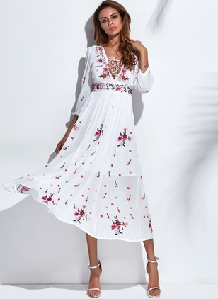 Floral Appliques 3/4 Sleeves Midi A-line Dress