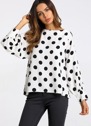 Polka Dot Casual Chiffon Round Neckline Long Sleeve Blouses