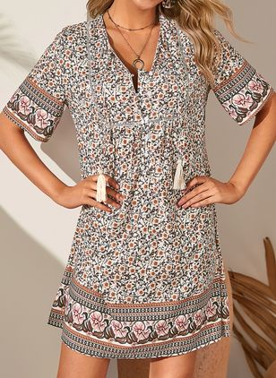 Casual Floral Tassel Tunic Shift Dress (1498095)