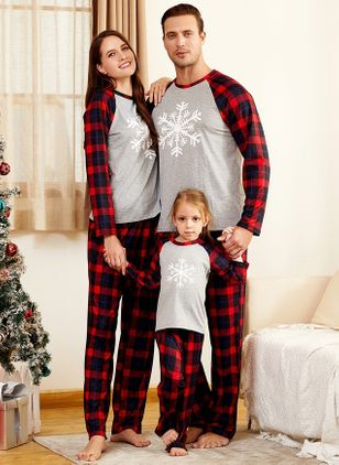 Family Look Geometric Christmas Long Sleeve Family Outfits (119992940)
