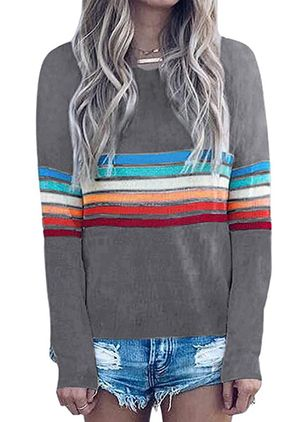 Round Neckline Color Block Casual Loose Regular Shift Sweaters (6211538)