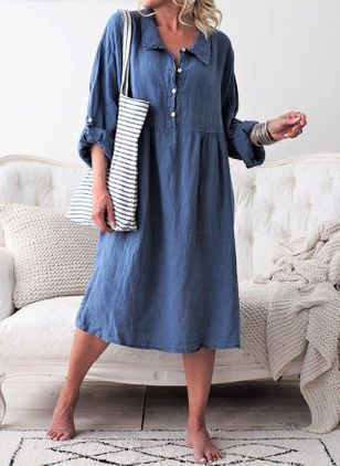 Casual Solid Tunic Collar Shift Dress (1527589)