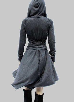 Cotton Solid Long Sleeve High Low Casual Dresses