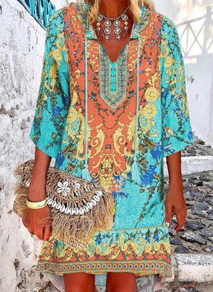 Boho Tunic V-Neckline Knee-Length A-line Dress (106821853)