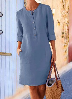 Casual Solid Tunic Round Neckline Shift Dress (147065401)