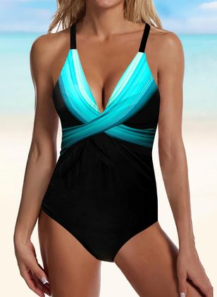 Polyester Color Block One-piece Swimwear (146967420)