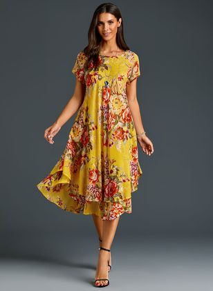 Chinese Casual Floral Ruffles Round Neckline A-line Dress (1163450)