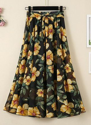 Floral Mid-Calf Casual Skirts (4040501)