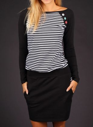 Casual Stripe Shirt Round Neckline Shift Dress (111853026)