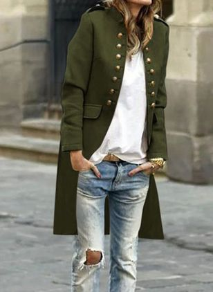 Long Sleeve Collarless Buttons Pockets Coats (106703848)