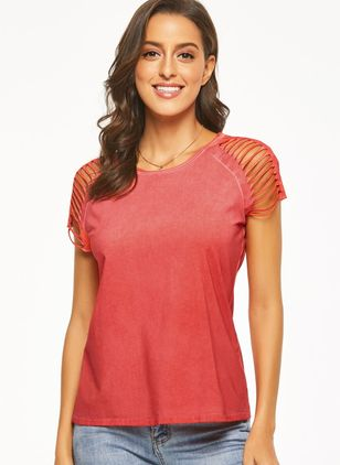 Solid Casual Round Neckline Cap Sleeve Blouses (1329408)