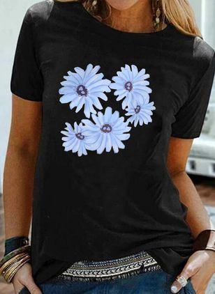Floral Round Neck Short Sleeve Casual T-shirts (4049016)
