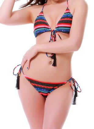 Polyester Halter Color Block Knotted Bikinis Swimwear (1478056)