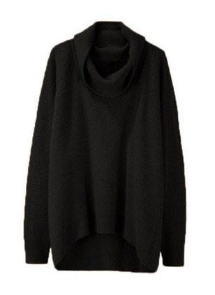 Draped Neckline Solid Asymmetrical Sweaters