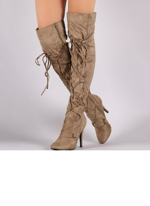 Lace-up Over The Knee Boots Stiletto Heel Shoes