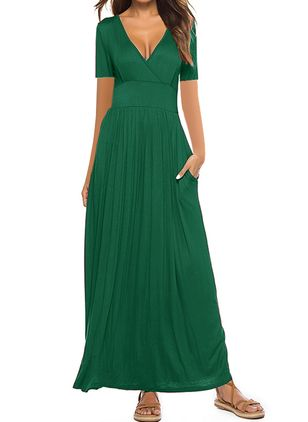 Casual Solid V-Neckline Maxi X-line Dress (100002162)