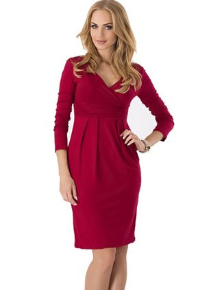 Solid Pencil Long Sleeve Knee-Length Bodycon Dress