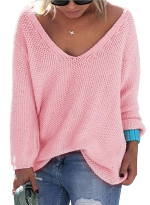 Cotton V-Neckline Solid Loose None Sweaters