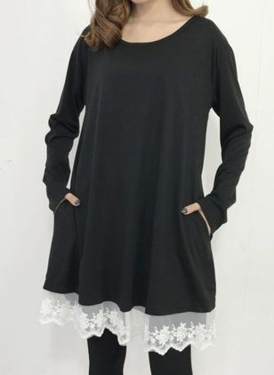 Casual Solid Tunic Round Neckline A-line Dress (146683267)