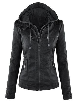 Long Sleeve Hooded Buttons Zipper Pockets Jackets