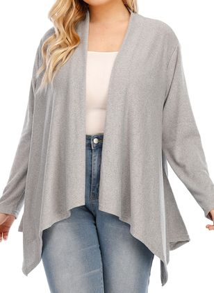 Plus Size Long Sleeve Collarless Coats (100321246)