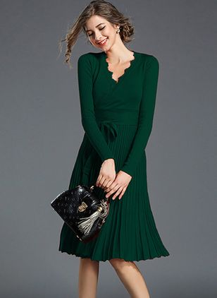 Solid Wrap Long Sleeve Knee-Length A-line Dress