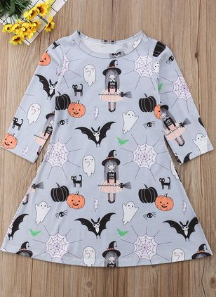 Girls' Casual Cartoon Halloween Long Sleeve Dresses (118208037)