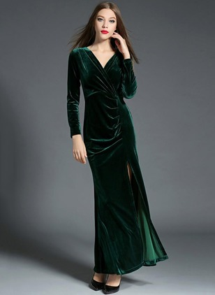 Solid Pencil Long Sleeve Maxi Sheath Dress