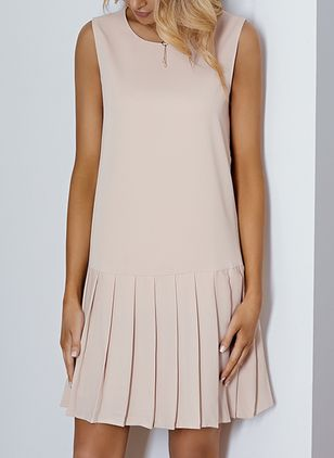 Basic Solid Drop waist Round Neckline Shift Dress (1286898)