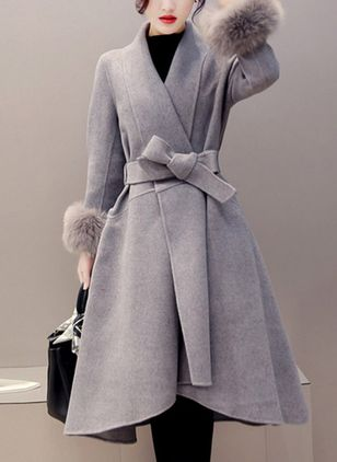 Long Sleeve Turtleneck Sashes Removable Fur Collar Wrap Coats