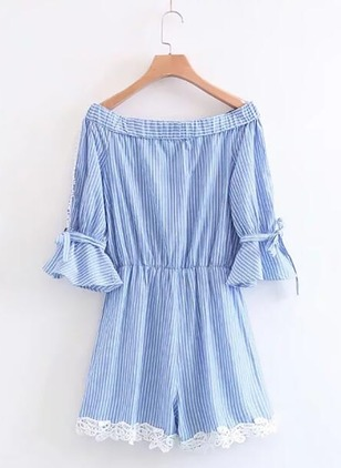 Cotton Stripe 3/4 Sleeves Lace Jumpsuits & Rompers