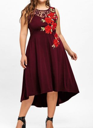 Plus Size Casual Floral Round Neckline High Low X-line Dress (5243785)