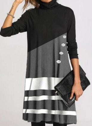 Casual Color Block Shirt High Neckline Shift Dress (118207628)