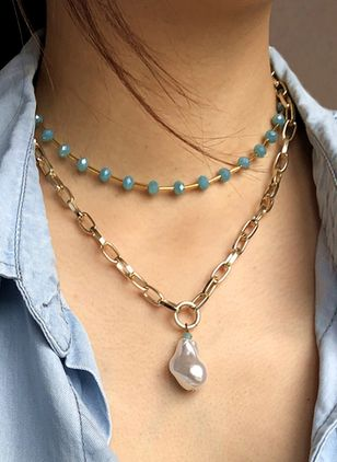 Casual Round Pearls Pendant Necklaces (4073883)