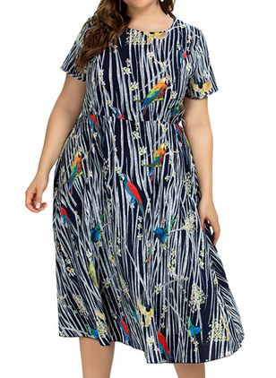 Plus Size Casual Floral Round Neckline Midi A-line Dress (4355739)