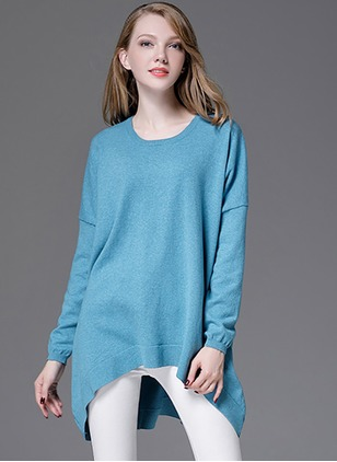Cotton Round Neckline Solid Loose Ruffles Others Sweaters