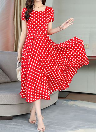 Casual Polka Dot Round Neckline Midi X-line Dress (1511211)