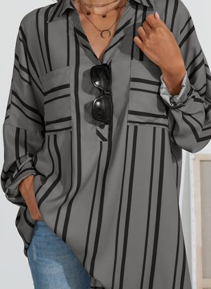 Plus Size Stripe Casual Collar Long Sleeve Blouses (1452280)