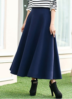 PU Solid Mid-Calf Casual None Skirts