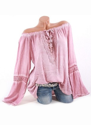 Solid Casual Cotton Boat Neckline Long Sleeve Blouses