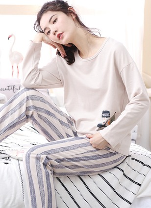 Cotton Round Neckline Color Block Pajamas