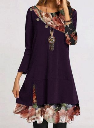 Casual Floral Round Neckline Knee-Length Shift Dress (131285734)